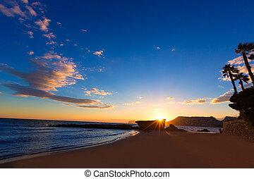 Calpe Alicante sunset at beach Cantal Roig in Spain - Calpe...