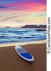 Calpe Alicante sunset at beach Cantal Roig in Mediterranean...
