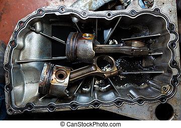 abierto, coche, motor, cilindros, pistón, barra