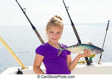 mar,  bonito, pesca, rubio, Atún, revolviendo, niña,  sarda