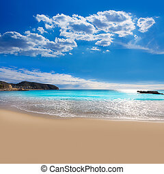 Moraira Playa la Ampolla beach in Teulada Alicante Spain -...
