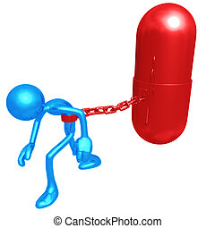 Chained To Giant Pill - 3D Concept And Presentation Figure