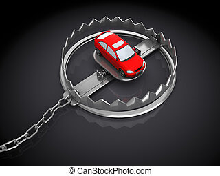 consumption trap - 3d illustration of car and trap, over...