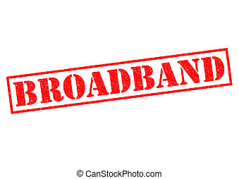 BROADBAND red Rubber Stamp over a white background