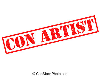 CON ARTIST red Rubber Stamp over a white background.