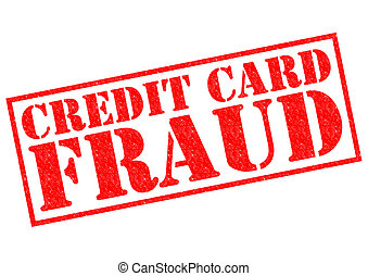 CREDIT CARD FRAUD red Rubber Stamp over a white background