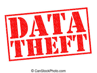 DATA THEFT red Rubber Stamp over a white background.