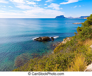 Ifach Penon view of calpe from Moraira in Alicante