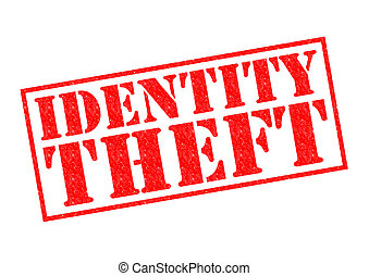 IDENTITY THEFT red Rubber Stamp over a white background.