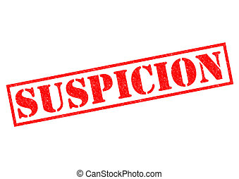 SUSPICION red Rubber Stamp over a white background