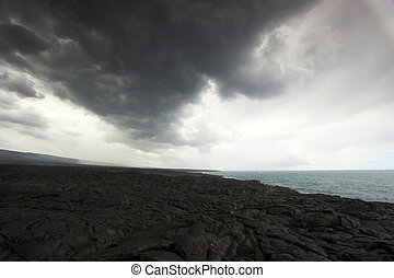 Volcanic landscape - Black fields of lava in Hawaii...
