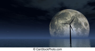 windpower - windmill at the ocean and full moon - 3d...