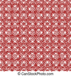 pattern from red shapes like laces with hearts