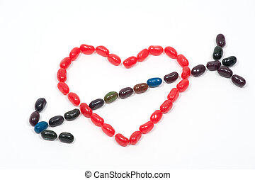 Jellybean heart with arrow - Jellybeans in the shape of a...