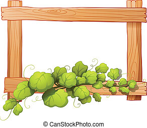 A wooden frame with a leafy plant - Illustration of a wooden...