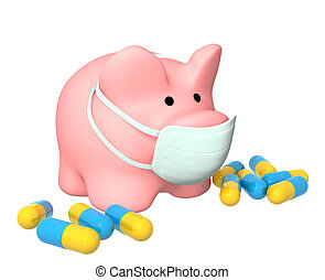 Epidemic of a swine flu - Conceptual image - epidemic of a...