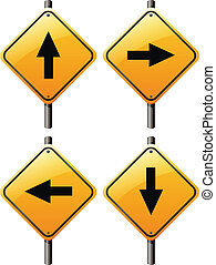 Four arrow signs - Illustration of the four arrow signs on a...