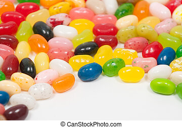 Jellybeans on a white background