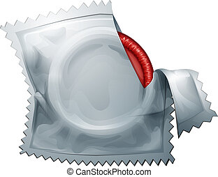 A red condom - Illustration of a red condom on a white...