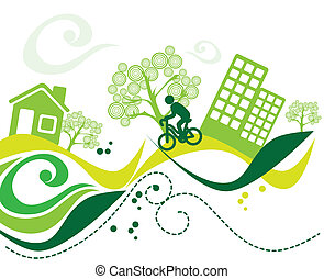 green enviroment over white background vector illustration