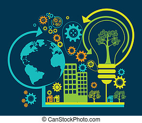 eco enviroment design - eco design over blue background...