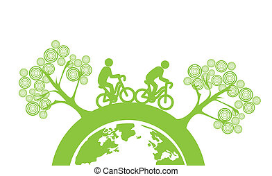 eco design - eco flat design over white background vector...