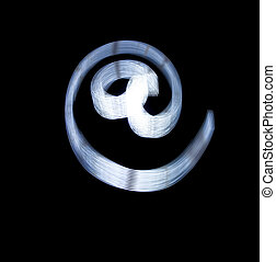 At and e-mail Symbol Icon Using Light Painting Technique...