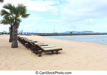 Chaise Longue on tropical beach, Thailand