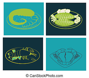 sea food design over colorful background vector illustration