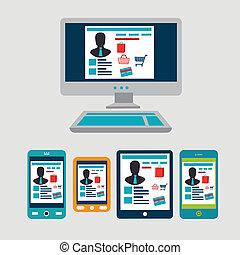 e-commerce & technology - e-commerce & techonology over gray...