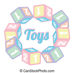 baby toys over  background vector illustration