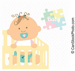 baby design over colorful background vector illustration