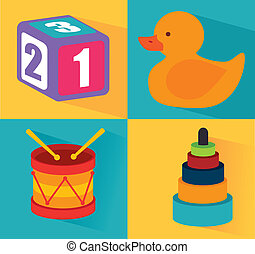 baby toys squares over colorful background vector...