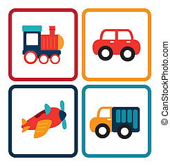 baby car toys over white background vector illustration