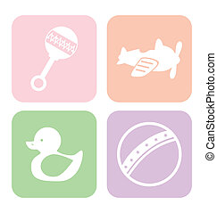 baby toys square over white background vector illustration