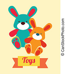 baby toys over yellowish background vector illustration