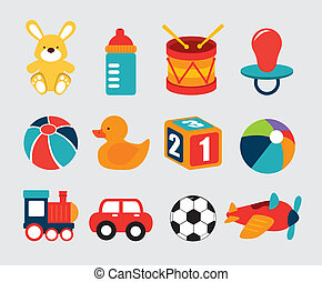 baby toys over grey background vector illustration