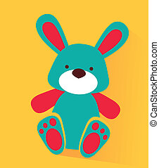 baby bunny toy over yellow background vector illustration