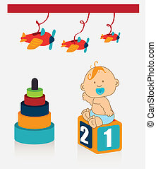 baby toys over white background vector illustration