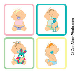 baby design - baby square design over white background...