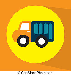 baby truck toy over orange background vector illustration