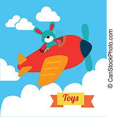 baby toys over sky background vector illustration