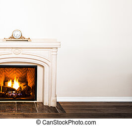 Luxurious White Marble Fireplace and empty wall for your...