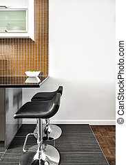 Modern Interior Room with beautiful Counter and Stools. Flat...