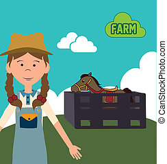 farm girl design - farm girl cartoon design over landscape...