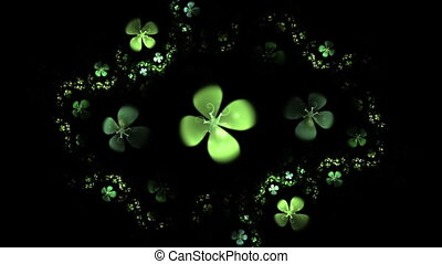 Green Four Leaf Clover On Black Ani - Shamrock, animated...