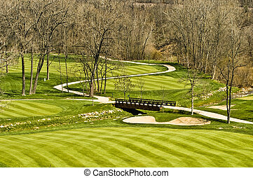 Golf course fairway and bridge - Golf course landscape shot...