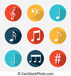 Music elements with flat desiign, Vector illustration