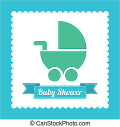 Baby Carriage - Baby shower card with baby carriage, vector...