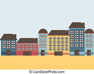 Home - House with colors on flat style, vector illustration